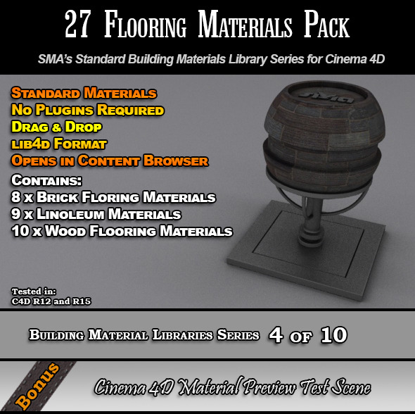 3DOcean 27 Standard Flooring Materials Pack for Cinema 4D 7764309