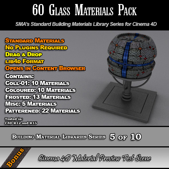 3DOcean 60 Standard Glass Materials Pack for Cinema 4D 7764370
