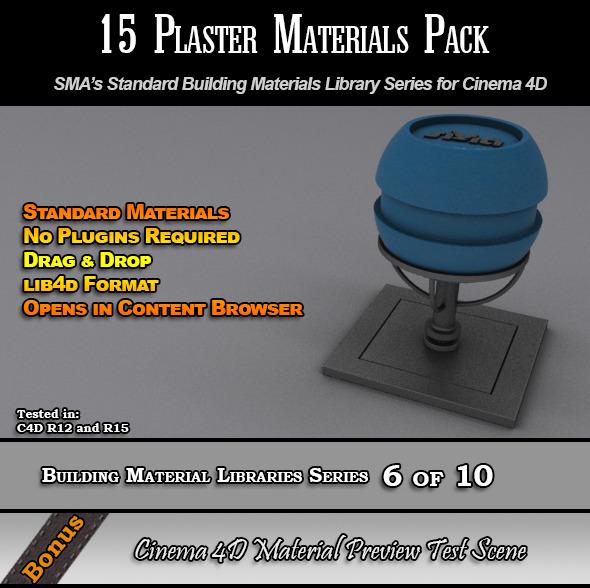 3DOcean 15 Standard Plaster Materials Pack for Cinema 4D 7764430
