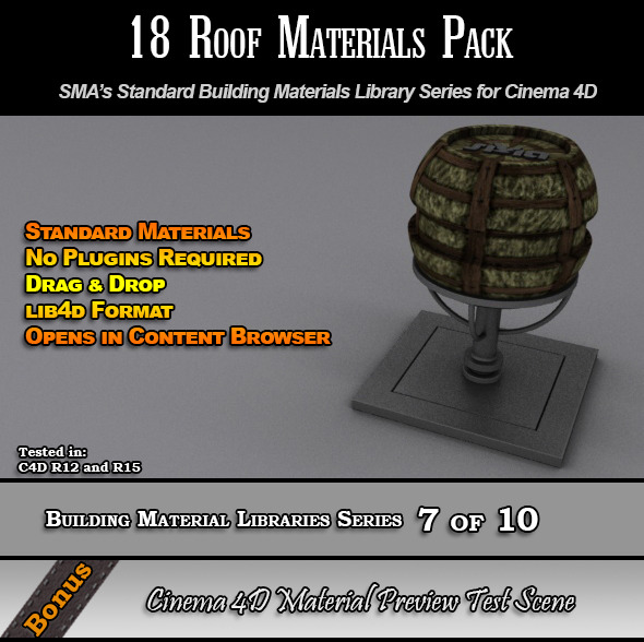 18 Standard Roof Materials Pack for Cinema 4D - 3DOcean Item for Sale