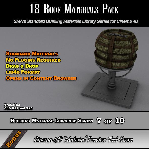 18 Standard Roof Materials Pack for Cinema 4D - 3DOcean Item for Sale