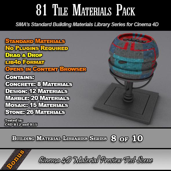 81 Standard Tiles Material Pack for Cinema 4D - 3DOcean Item for Sale