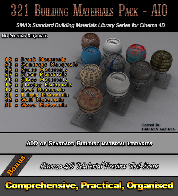 321 Comprehensive Building Materials Pack for C4D - 3DOcean Item for Sale