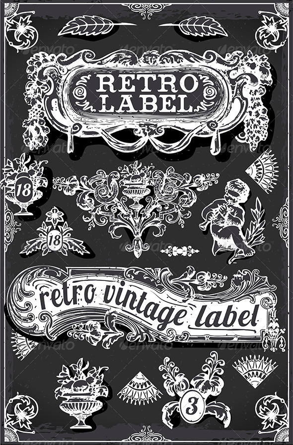 GraphicRiver Retro Labels Vintage Blackboard 7764679