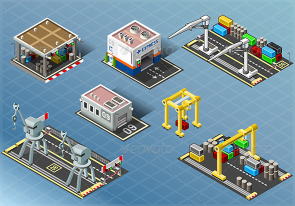 GraphicRiver Isometric Set of Storage Buildings 7764854