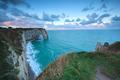 cliffs in Etretat at sunrise