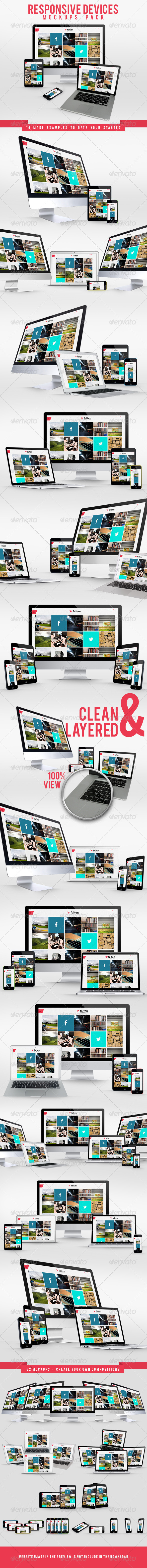 Responsive Devices Mockups Pack - Website Displays