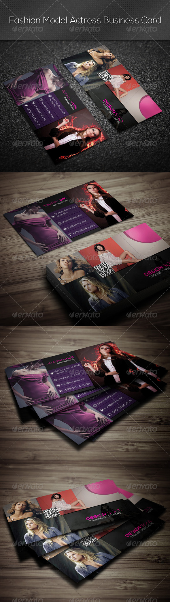 GraphicRiver Fashion Model Actress Business Card 7765320