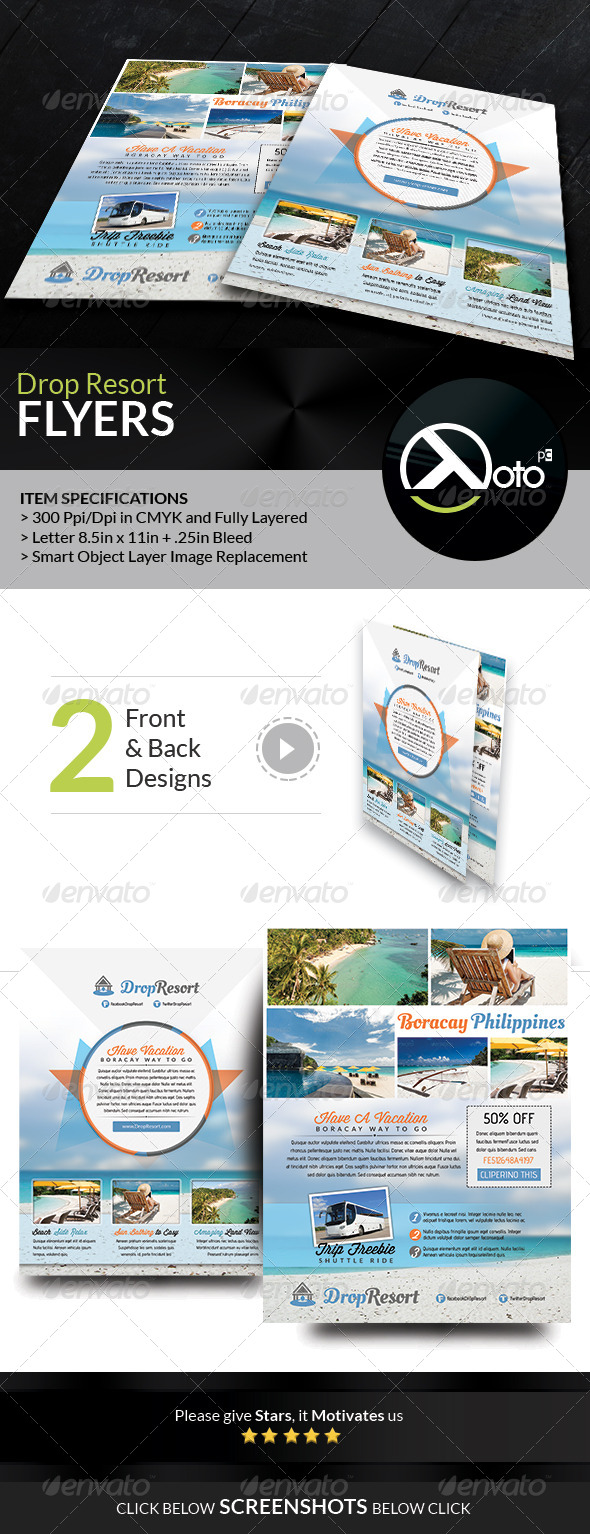 GraphicRiver Drop Beach Resort Vacation Trip Flyers 7765916