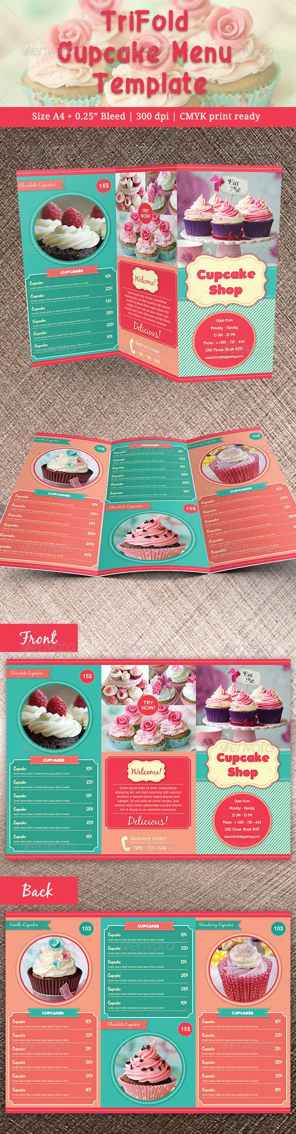 GraphicRiver TriFold Cupcakes Menu 7766041