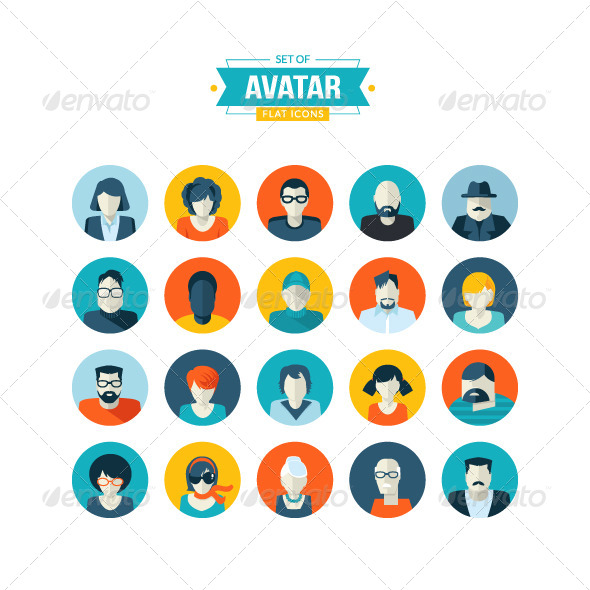 GraphicRiver Set of Avatar Flat Icons 7766065