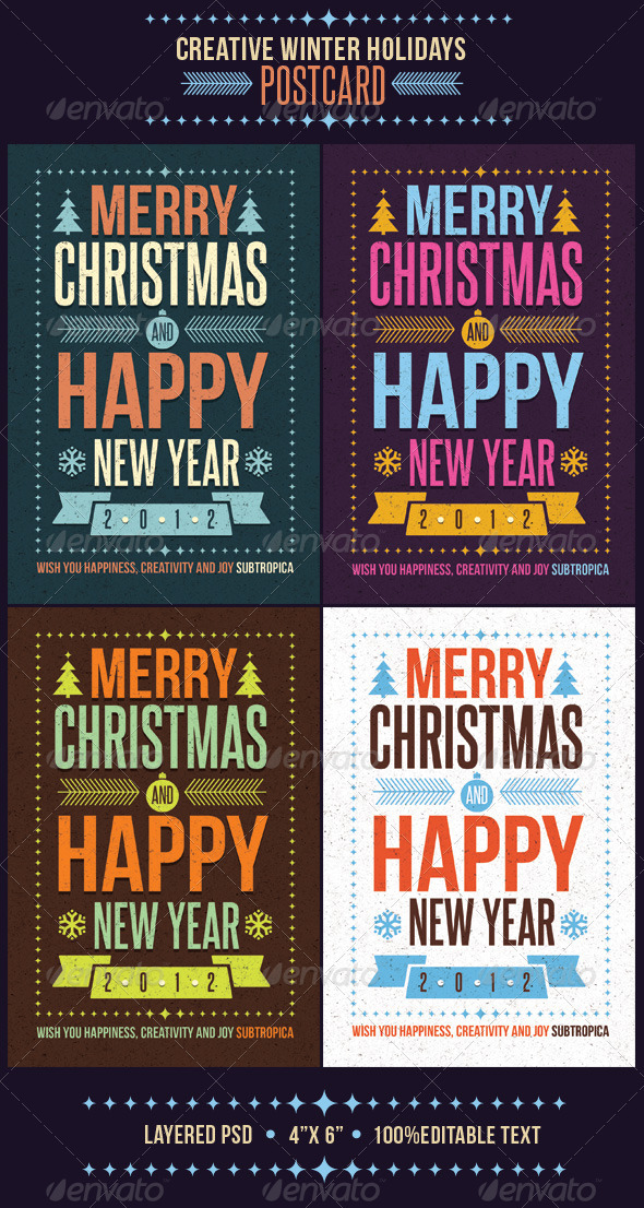 Creative Winter Holidays Postcard - Holiday Greeting Cards