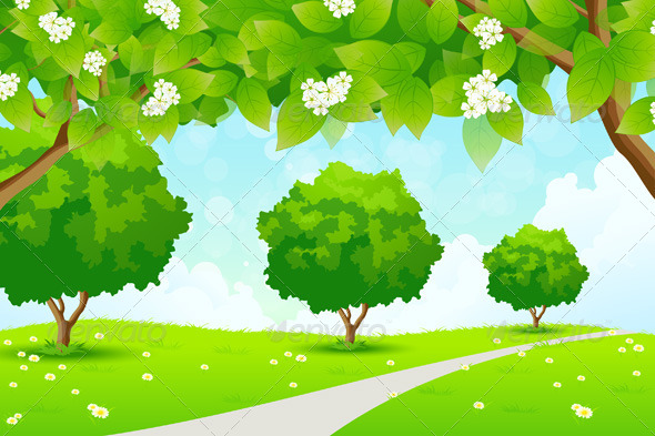 GraphicRiver Green Landscape with Trees 7766999