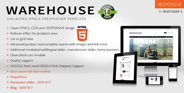 Warehouse - Responsive Prestashop 1.6 Theme + Blog - Shopping PrestaShop