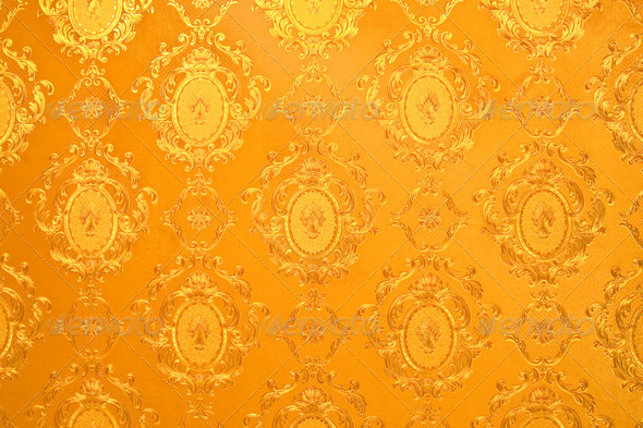 Thai Design Wallpaper : Old gold wallpaper traditional thai style stock photo