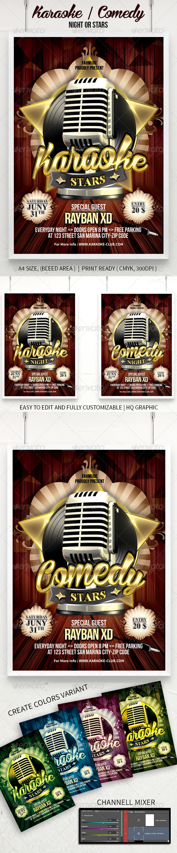 GraphicRiver Karaoke Or Comedy Night Stars Poster Flyer 7736421