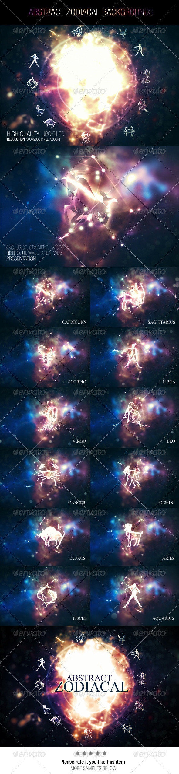 GraphicRiver Abstract Zodiacal Backgrounds 7767663