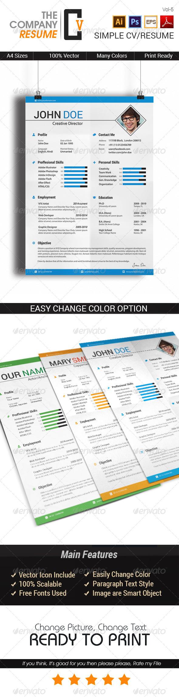 GraphicRiver Simple CV Resume 7767705
