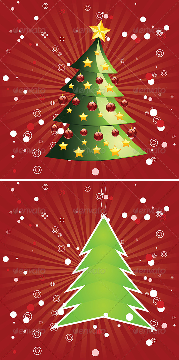 GraphicRiver Christmas Tree on Red Background 7767900