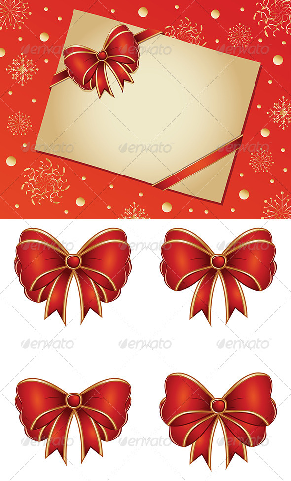 GraphicRiver Retro Card with Red Bow 7767908