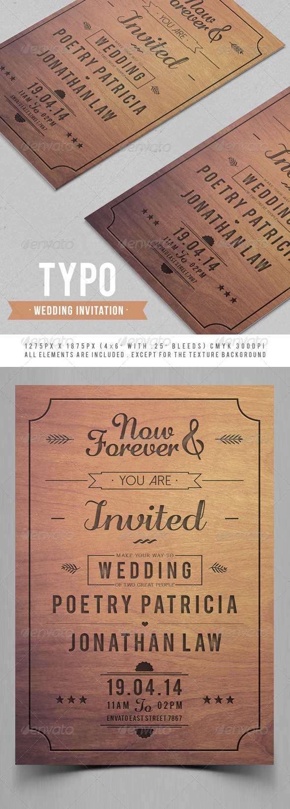 Typo Wedding Invitation - Weddings Cards & Invites
