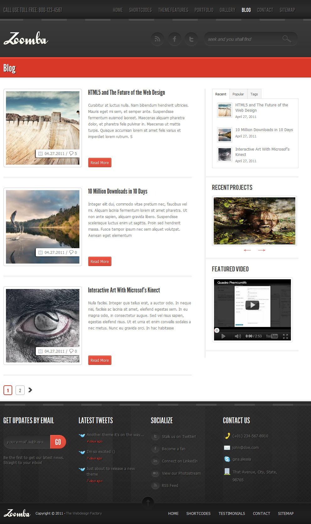 Zoomba - Business/Portfolio WordPress Theme