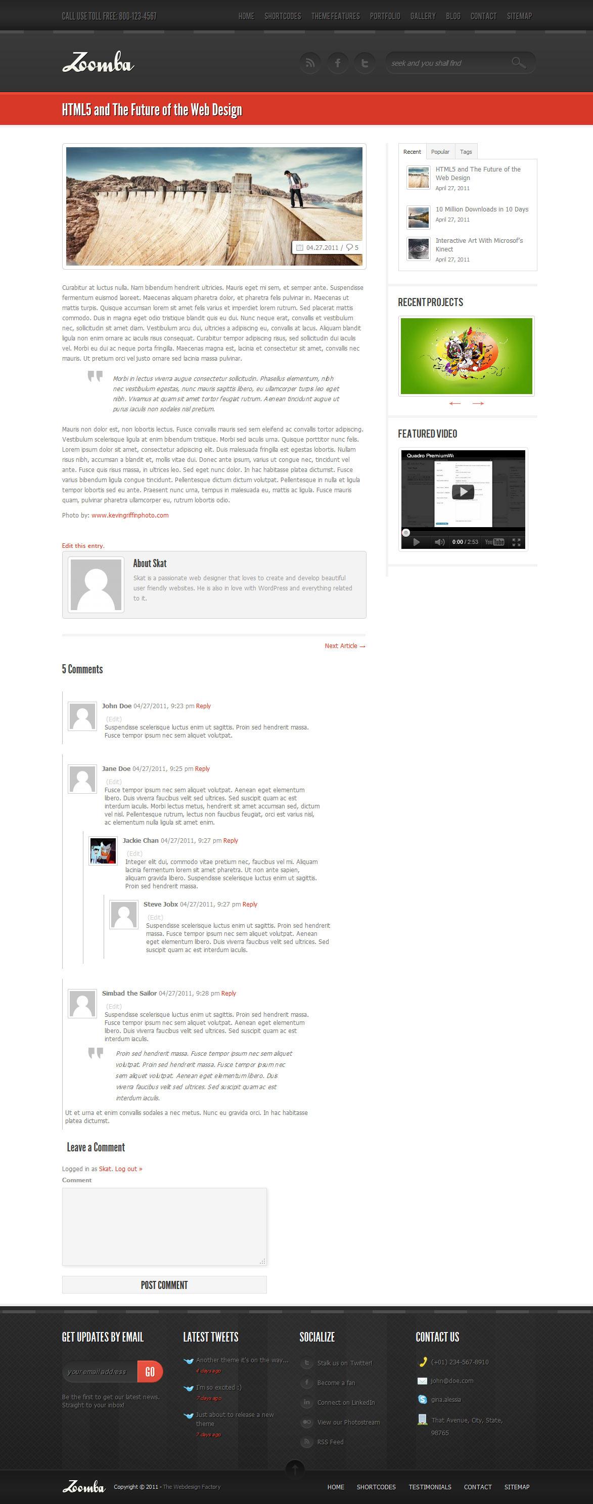 Zoomba - Business/Portfolio WordPress Theme