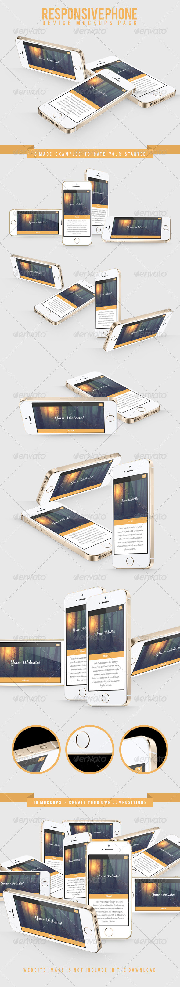 Responsive Phone Device Mockups Pack - Mobile Displays