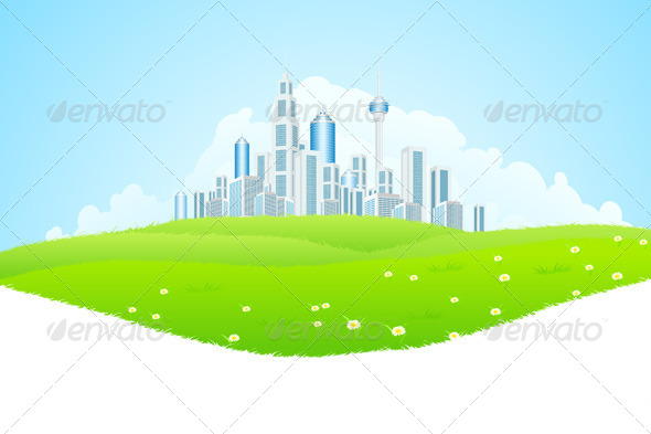 GraphicRiver Green Landscape with City 7768984