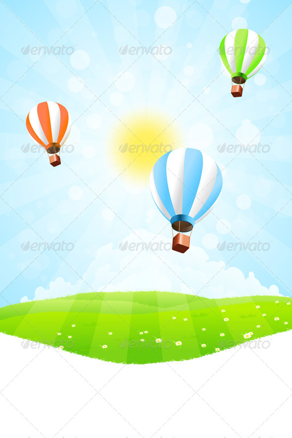 GraphicRiver Green Landscape with Hot Air Balloon in the Sky 7769014