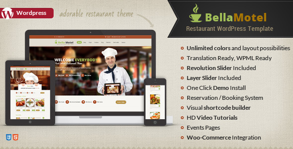 ThemeForest Bella Motel Responsive Restaurant WP Theme 7699879