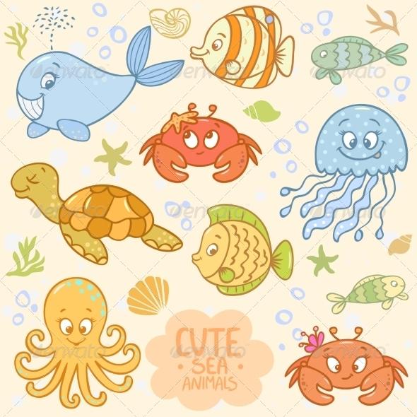 GraphicRiver Sea Set Animals 7769429