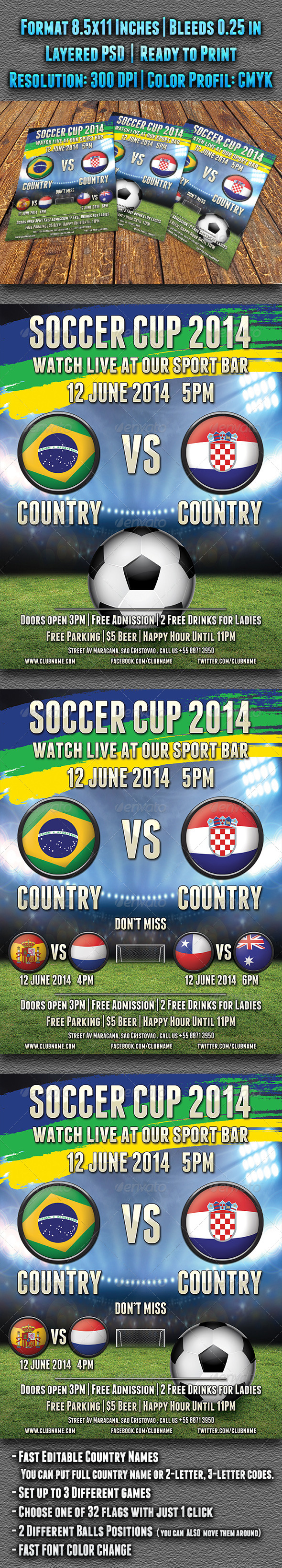 GraphicRiver Soccer Cup 2014 Sport Bar Flyer 7750609