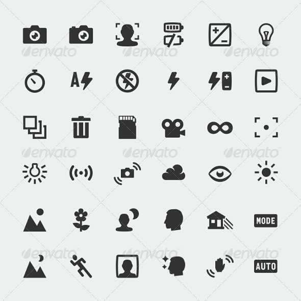 GraphicRiver Camera Functions Icons Set 7770698