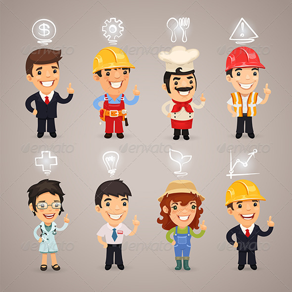GraphicRiver Professions Characters with Icons 7758551