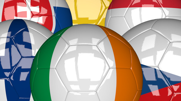 3D Soccer Ball EU Flags Pack 5
