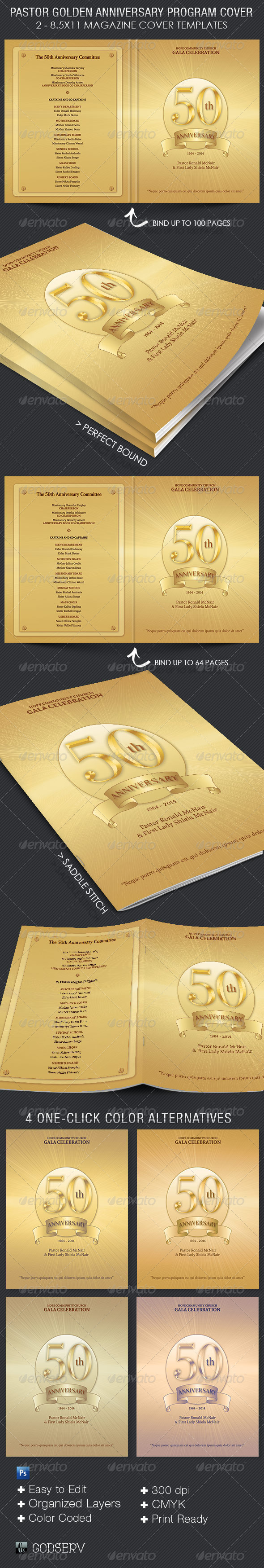 Pastor Golden Anniversary Program Cover Template - Informational Brochures