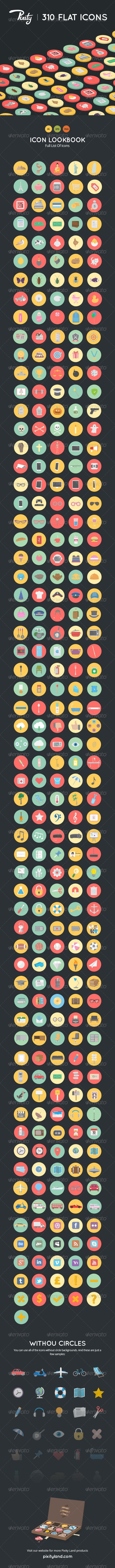GraphicRiver Pixity 310 Flat Icons 7771249