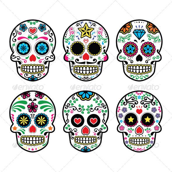 GraphicRiver Mexican Sugar Skull Dia de los Muertos Icons Set 7771298