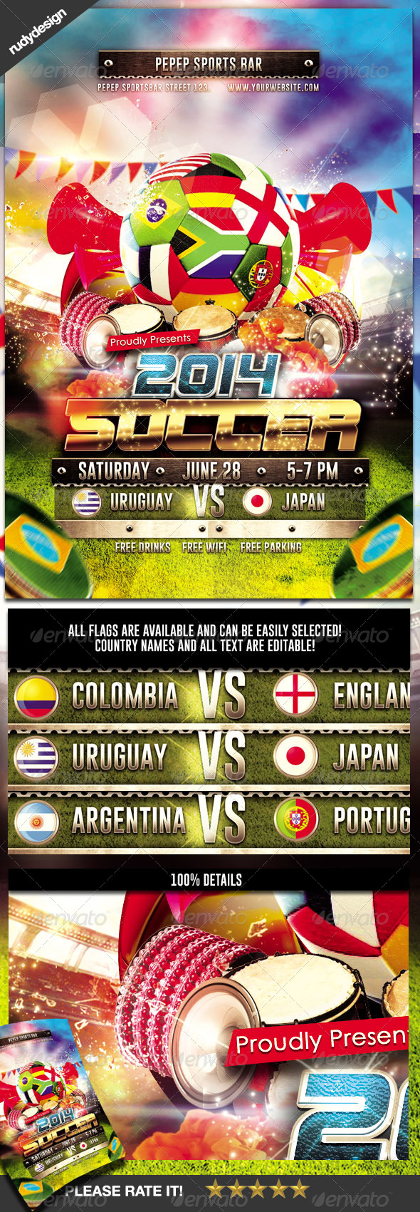 GraphicRiver Brazil 2014 Football Soccer Cup Flyer Design 7771511