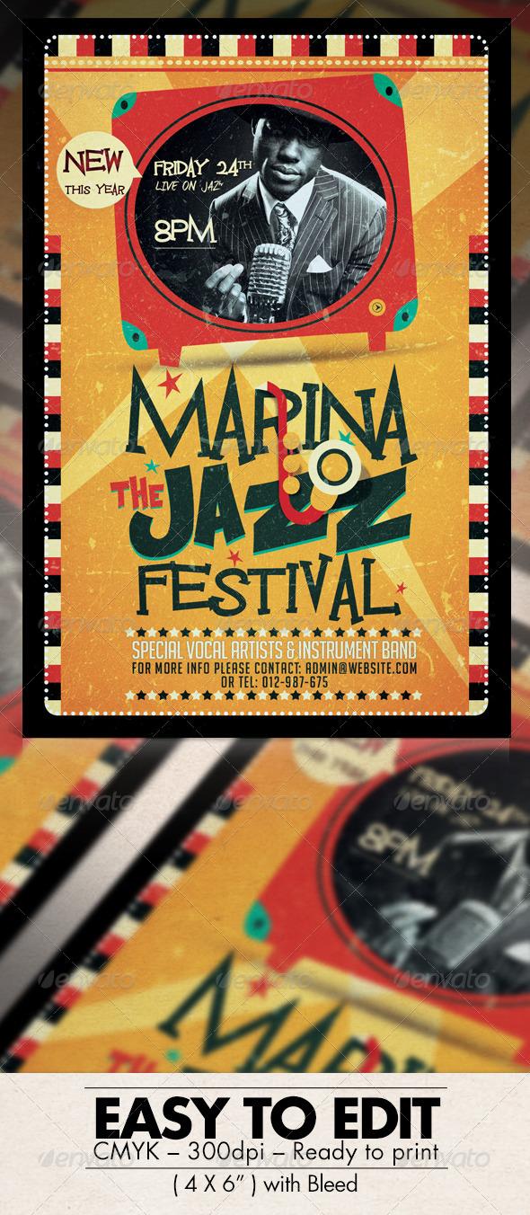 GraphicRiver Retro Jazz Festival Flyer 7771637