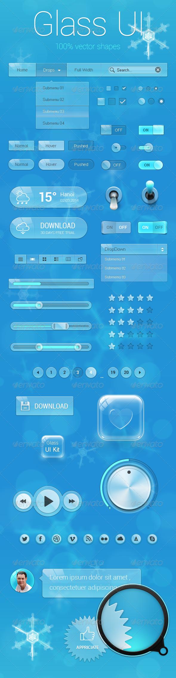 GraphicRiver Glass UI Kit 7756496