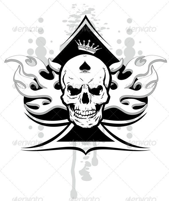 GraphicRiver ace of spades skull 7762682