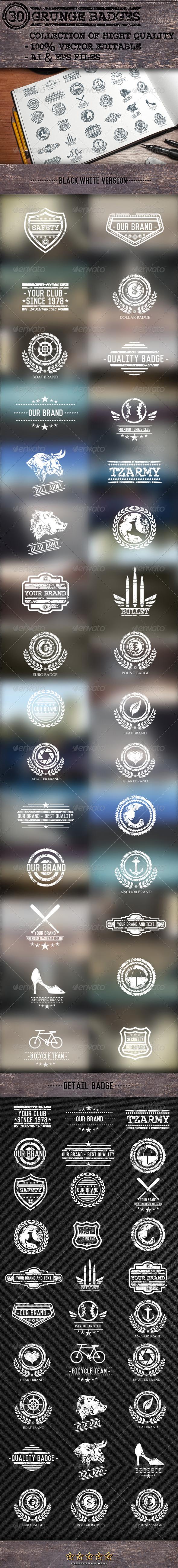 GraphicRiver 30 Grunge Badges 7762753