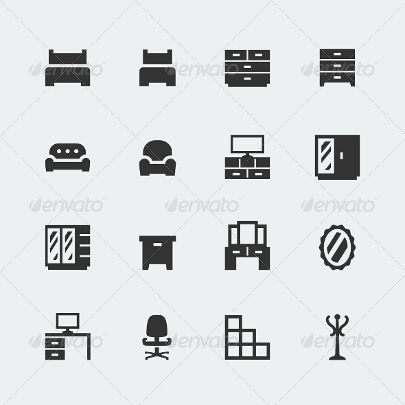 Home Furniture Icons Set #1