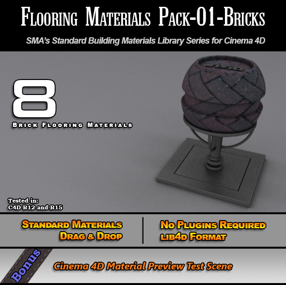 Flooring Materials Pack-01-Bricks - 3DOcean Item for Sale