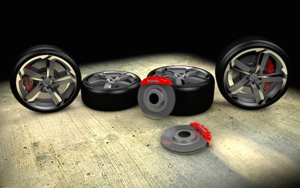 3DOcean Super Sport Car Wheel Set with Brembo Breaks 7772556