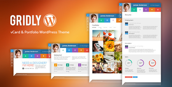 ThemeForest Gridly Personal vCard & Portfolio WordPress 7656165
