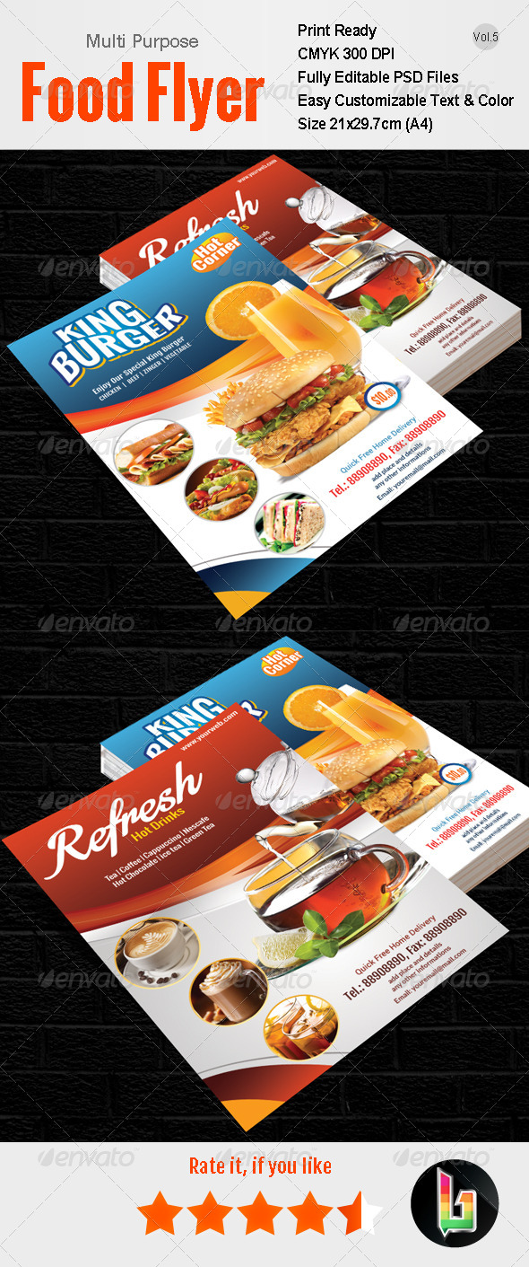 GraphicRiver Multi Purpose Food Flyer Vol5 7773260