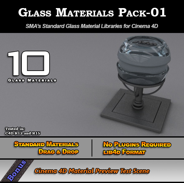 3DOcean Glass Materials Pack-01 for Cinema 4D [Standard] 7773313